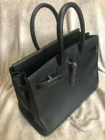 35cm Hermes Birkin- Togo black leather- Palladium hardware-with purchase invoice.