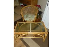 Wicker Chair & Bamboo Table