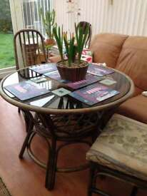 Conservatory - Bamboo, Glass top Dining Table - circular