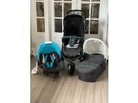 New hauck viper Trio travel system aqua beige black pram pushchair from birth to 15 kg £149