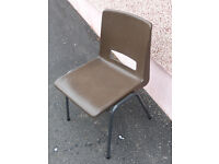 Circa 80 No. plastic chairs, brown @ £3 each