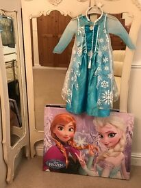 Frozen dress age 4/5 excellent condition with matching hair band, Frozen canvas Frozen picture