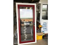 Brand New PVCu exterior door White frame with red door leaf 2030mm x 930mm