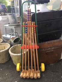 Vintage French children's croquet set