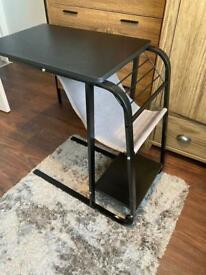 Desk/bed side table, laptop holder, slides under bed