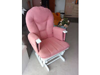 Pink & White Obaby Glider Nursery Chair & Footrest (Like New)