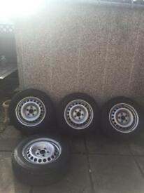 4 brand new tyres with wheels off a 62 plate T5 Transporter