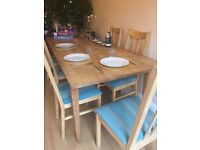 Large dining or work table seats 8-10. Untreated oak so just scrub down like a pub table.