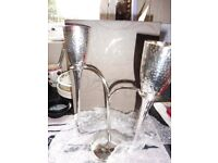 Silver Plated FLUTES & STAND (Hammered Design)