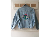 Mens Hard Rock cafe Orlando, Florida Blue Denim Jeans Jacket size L - Perfect condition