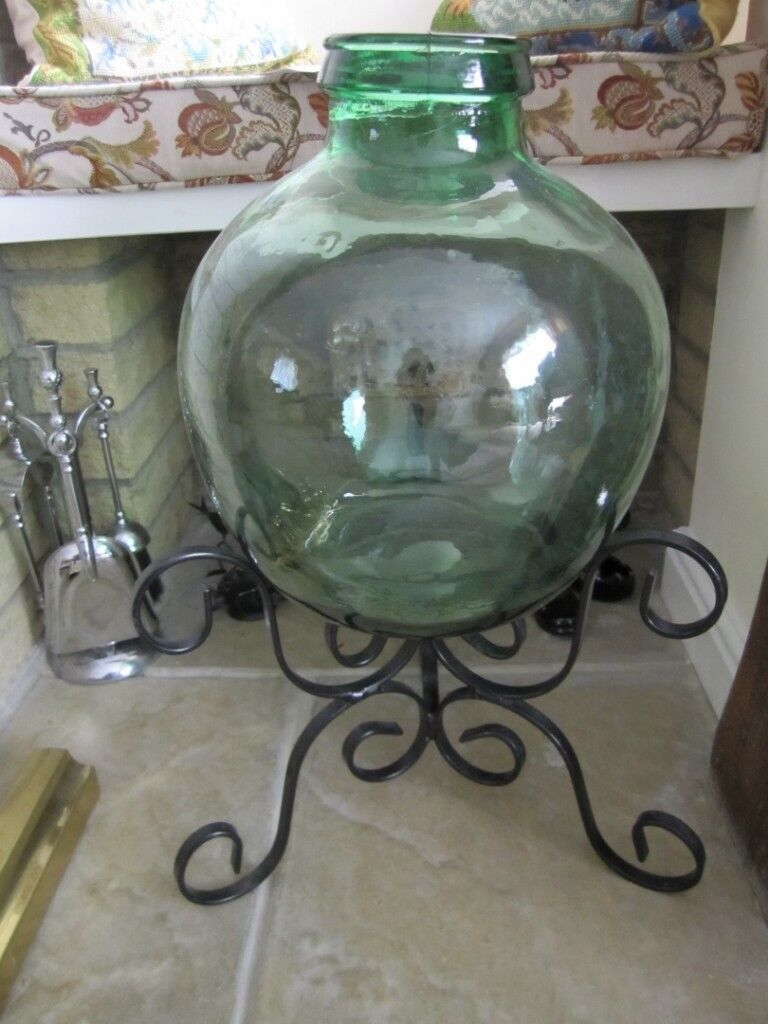 Vintage Terrarium Green Glass Large With Black Wrought Iron Metal Stand