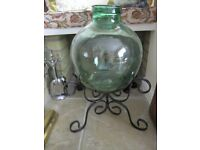 Vintage Terrarium green glass, large with black wrought iron metal stand
