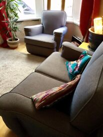Beautifully reupholstered 1920s two seater sofa and 2 armchairs