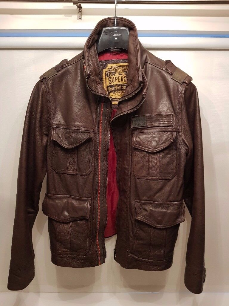 Superdry Mens Brown Leather Jacket (M) – Excellent Condition