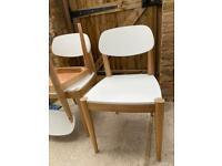 3 x white wooden kitchen chairs