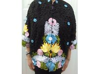 Caro of Honolulu Vintage Black Multi-Colour Cut Embroidered Jacket
