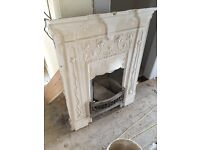 Original Art Deco cast iron bedroom fireplace
