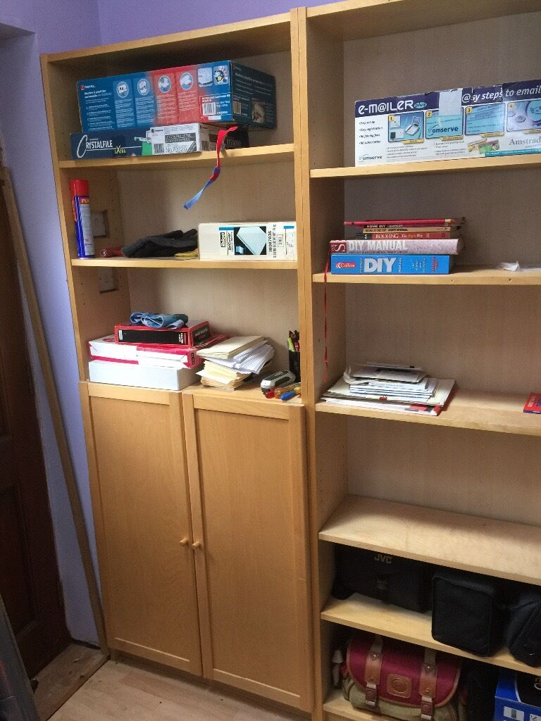 Bookcases x4in Oakwood, DerbyshireGumtree - Bookcases x 4. IKEA Billy range in birch One with cupboard, others just shelves Well used and some have cutouts for light switches etc so not perfect. 202(h)x80(w)x 27(d) £10 each or £30 for all 4 Buyer to collect please