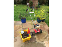 Mantis 4 Stroke petrol tiller with stand, scarifier, plough and digging attachments