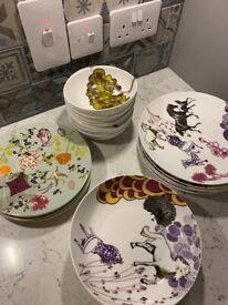 HABITAT Patterned Set of Dinner Plates, Pasta Bowls, Bowls and Side Plates FREE
