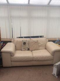 Cream leather sofa - Large 2 seater