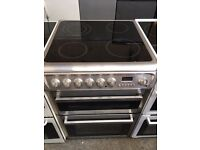 HOTPOINT free standing electric ceramic cooker 60 cm width stainless steel fully working order
