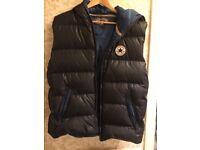 Converse all star Puffa Vest Waistcoats Hooded Zip bodywarmer size 2XL navy blue duck down & feather