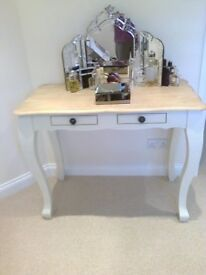 Solid oak/cream dressing table by Furniture land