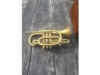 Antique cornet in original walnut box by Jerome Thibouville - lamy.