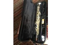 Silver plated soprano saxophone excellent condition with mouthpiece and case.