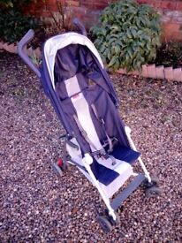 Lightweight foldaway pushchair in blue/silver with rain cover