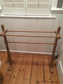 Vintage pine towel rail Victorian free standing