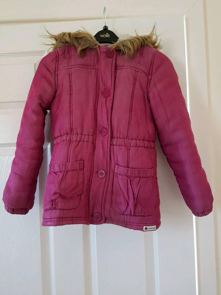 2eba90a73 Girls Age 9-10yrs Cerise Pink Fur Hooded Winter Coat.