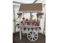 Large Sweet cart, lots of decorations , jars etc.