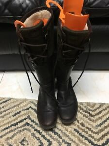 Size 7.5 - Dark brown leather UGG knee high lace up boots