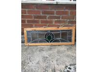 Vintage old stained glass panel