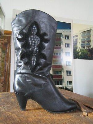 Damenstiefel Stiefel Boots black schwarz slouch Rocker 80er TRUE VINTAGE (Damen Rocker Stiefel)