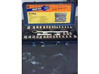 Metal case with socket wrench set