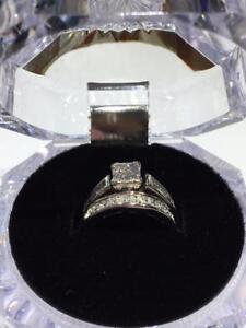 #1266 14K BEAUTIFUL DIAMOND WEDDING SET SIZE 3 1/2! JUST BACK FROM APPRAISAL AT $4250.00 **SELLING AT ONLY $1295.00***