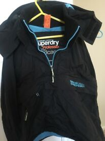 Superdry windcagoule, black/ blue trim, medium