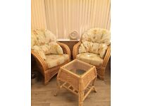 Cane chairs and matching table. Botanical design, very comfortable