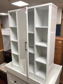 1 door bathroom unit with shelves - white
