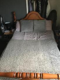 Solid double wooden bed