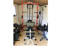 Gym power rack with top and bottom cable pull