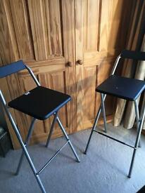2 Metal fold up bar stools