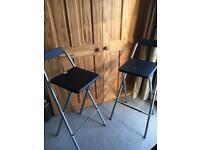 2 Metal fold up bar stools
