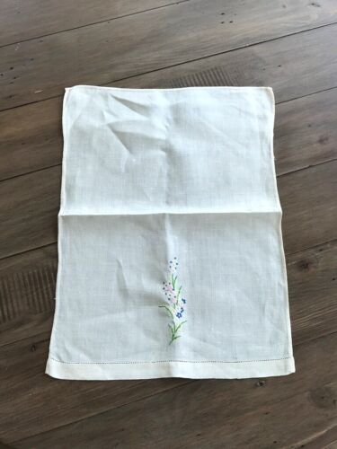 Lovely Vintage Linen Kitchen Towel - Cream with Floral Embroidery