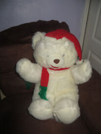 Teddy large cute white cuddly soft Christmas teddy for big or little people,good clean condition