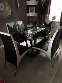Black chrome & cream dining table & 6 chairs