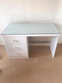 White Three Drawer Dressing Table With Glass Top